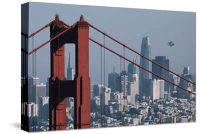 Blue Angels Arrive at Golden Gate Bridge, San Francisco-Vincent James-Stretched Canvas Print