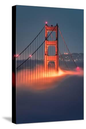 Tower Fog Night Lights Golden Gate Bridge, San Francisco California Travel-Vincent James-Stretched Canvas Print