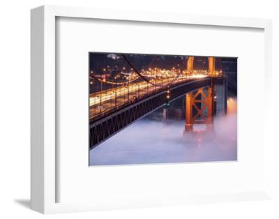 Night Travels Across Golden Gate Bridge, San Francisco California Travel-Vincent James-Framed Photographic Print