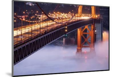 Night Travels Across Golden Gate Bridge, San Francisco California Travel-Vincent James-Mounted Photographic Print