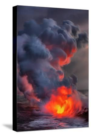 Fire Water Lava Shore Hawaii Big Island Volcano National Park-Vincent James-Stretched Canvas Print
