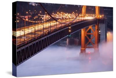 Night Travels Across Golden Gate Bridge, San Francisco California Travel-Vincent James-Stretched Canvas Print