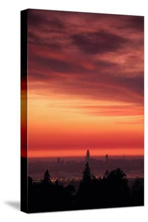 Sweet Silk Sunset Over San Francisco Golden Fire in the Sky-Vincent James-Stretched Canvas Print