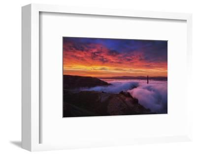 Sky Fire Fog Mood Golden Gate Bridge, San Francisco California Travel-Vincent James-Framed Photographic Print