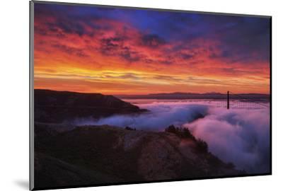 Sky Fire Fog Mood Golden Gate Bridge, San Francisco California Travel-Vincent James-Mounted Photographic Print