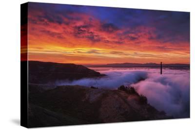 Sky Fire Fog Mood Golden Gate Bridge, San Francisco California Travel-Vincent James-Stretched Canvas Print