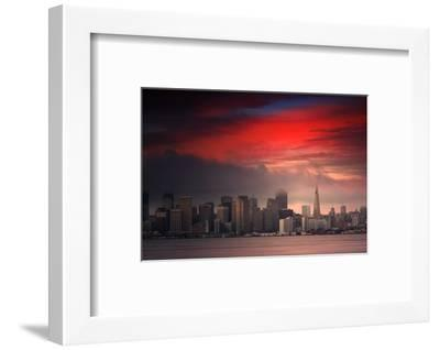 Deep Red Sunset Downtown San Francisco Bay Treasure Island-Vincent James-Framed Photographic Print