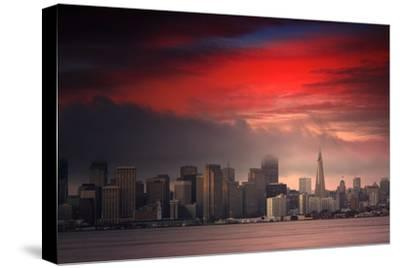 Deep Red Sunset Downtown San Francisco Bay Treasure Island-Vincent James-Stretched Canvas Print