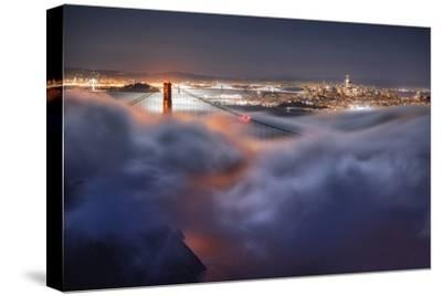 Harvest Moonlight Fog & City San Francisco Golden Gate Bridge-Vincent James-Stretched Canvas Print