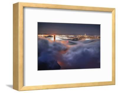 Harvest Moonlight Fog & City San Francisco Golden Gate Bridge-Vincent James-Framed Photographic Print