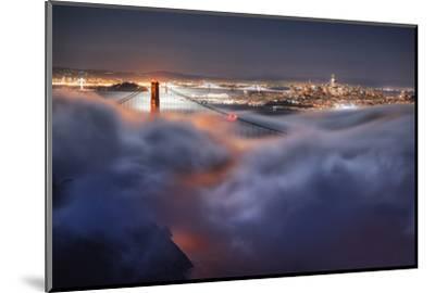 Harvest Moonlight Fog & City San Francisco Golden Gate Bridge-Vincent James-Mounted Photographic Print