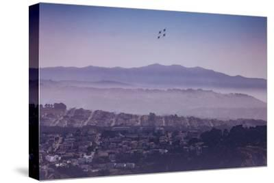 Blue Angels Over Sunset Neighborhood District San Francisco-Vincent James-Stretched Canvas Print