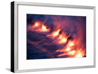 Ocean Fire Lava Shore Hawaii Big Island Volcano National Park-Vincent James-Framed Premium Photographic Print