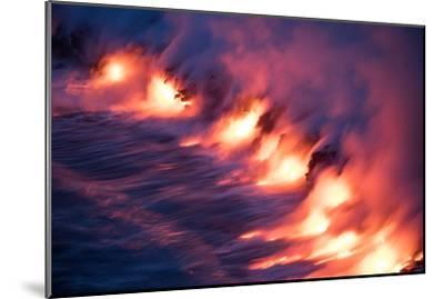 Ocean Fire Lava Shore Hawaii Big Island Volcano National Park-Vincent James-Mounted Premium Photographic Print