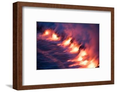 Ocean Fire Lava Shore Hawaii Big Island Volcano National Park-Vincent James-Framed Photographic Print