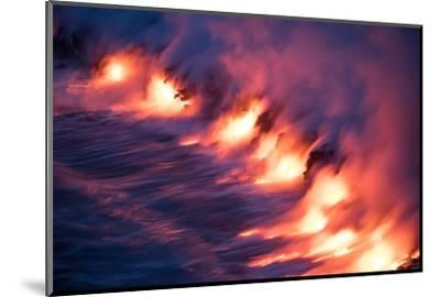 Ocean Fire Lava Shore Hawaii Big Island Volcano National Park-Vincent James-Mounted Photographic Print