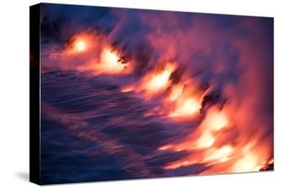 Ocean Fire Lava Shore Hawaii Big Island Volcano National Park-Vincent James-Stretched Canvas Print