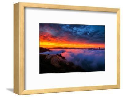 Morning Sky Fire Fog Golden Gate Bridge, San Francisco California Travel-Vincent James-Framed Photographic Print