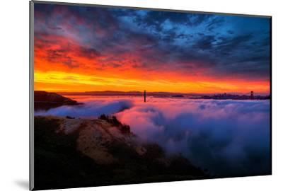 Morning Sky Fire Fog Golden Gate Bridge, San Francisco California Travel-Vincent James-Mounted Photographic Print