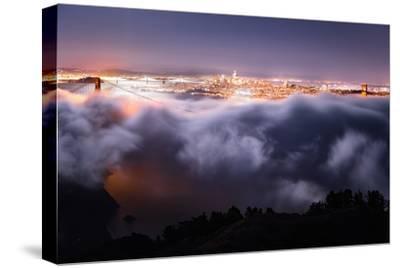 Moon Fog Wave San Francisco Skline at Night Golden Gate Bridge-Vincent James-Stretched Canvas Print