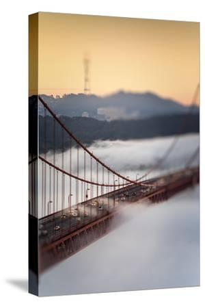 Crossing The Gate Morning Fog Golden Gate Bridge, San Francisco California Travel-Vincent James-Stretched Canvas Print