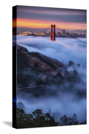 Epic Morning Fog Golden Gate Bridge, San Francisco California Travel-Vincent James-Stretched Canvas Print