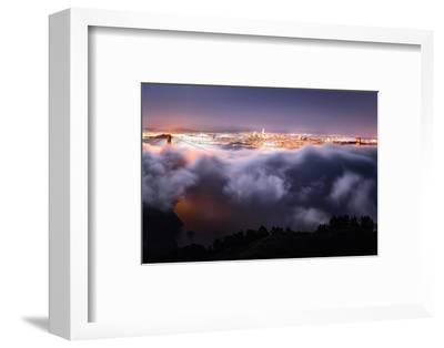 Moon Fog Wave San Francisco Skline at Night Golden Gate Bridge-Vincent James-Framed Photographic Print