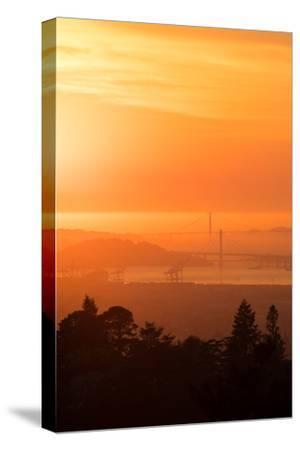 Sunset Drenched Bay Area Bay Bridge Golden Gate San Francisco Bay-Vincent James-Stretched Canvas Print
