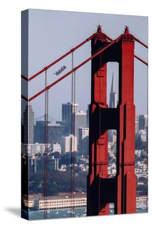 Blue Angels Show at Golden Gate Bridge, San Francisco-Vincent James-Stretched Canvas Print