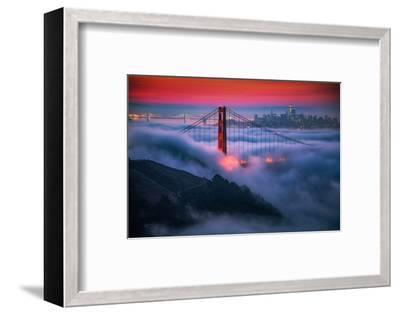Candy Skies Moody Fog Golden Gate Bridge, San Francisco California Travel-Vincent James-Framed Photographic Print