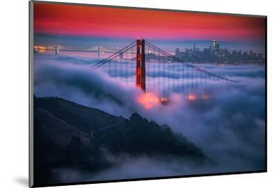 Candy Skies Moody Fog Golden Gate Bridge, San Francisco California Travel-Vincent James-Mounted Photographic Print
