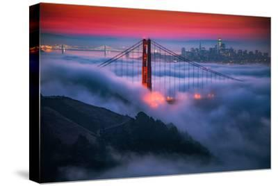 Candy Skies Moody Fog Golden Gate Bridge, San Francisco California Travel-Vincent James-Stretched Canvas Print