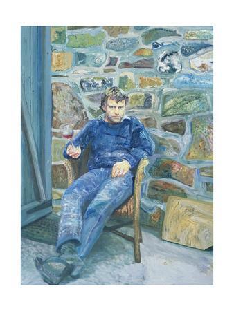 Portrait of Peter Reading, 1989-Peter Edwards-Framed Giclee Print