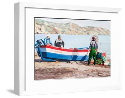 Fishermen at Nerja, Spain-Anthony Fandino-Framed Giclee Print