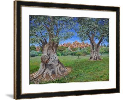 View of Cagnes Sur Mer from Renoir's garden, 2017-Trevor Neal-Framed Giclee Print