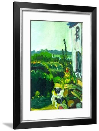Pug Puppies in the Garden-Brenda Brin Booker-Framed Giclee Print