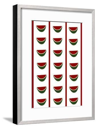 Design -CR- Watermelons in White-Cristina Rodriguez-Framed Giclee Print