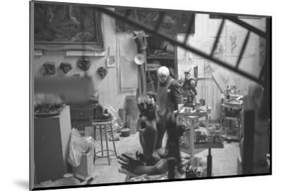 Leon Underwood in his studio with 'Phoenix for Europe', 1969--Mounted Photographic Print