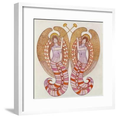 Two angels with trumpets, 1995-Gillian Lawson-Framed Giclee Print