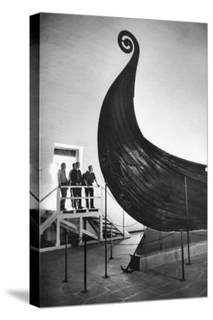 """The """" Oseberg boat"""", a Viking ship now in the Viking-skipshuset Museum in Oslo, Norway.-Erich Lessing-Stretched Canvas Print"""