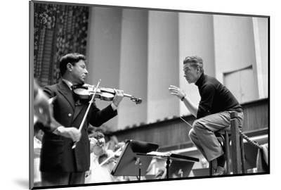 Conductor Herbert von Karajan rehearsing with Nathan Milstein in Lucerne, Switzerland. Lucerne,1957-Erich Lessing-Mounted Photographic Print