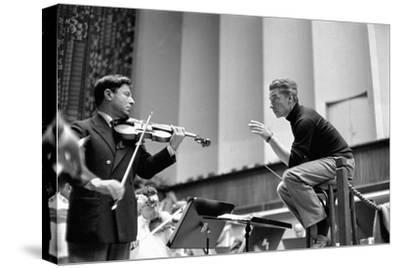 Conductor Herbert von Karajan rehearsing with Nathan Milstein in Lucerne, Switzerland. Lucerne,1957-Erich Lessing-Stretched Canvas Print