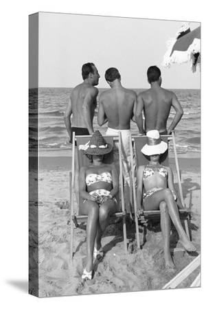 Cesenatico: the happy life on an Italian beach,1960.-Erich Lessing-Stretched Canvas Print