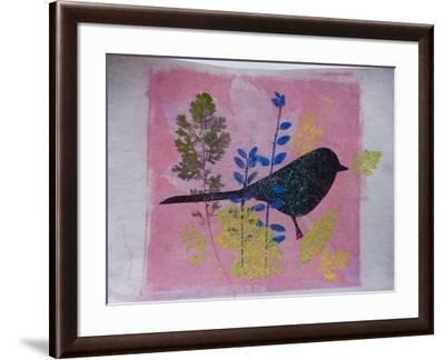 Birdy on pink-Sarah Thompson-Engels-Framed Giclee Print