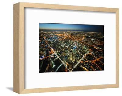 aerial view of Melbourne, cityscape and rooftops, Australia-John Gollings-Framed Photo