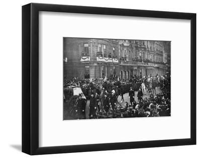 Queen Victoria's funeral procession passing through London, 1901. Artist: Unknown-Unknown-Framed Photographic Print
