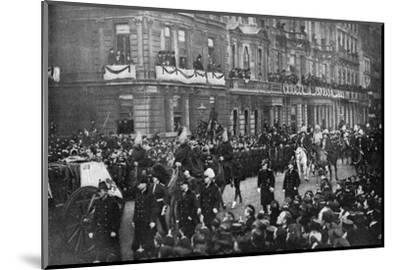 Queen Victoria's funeral procession passing through London, 1901. Artist: Unknown-Unknown-Mounted Photographic Print