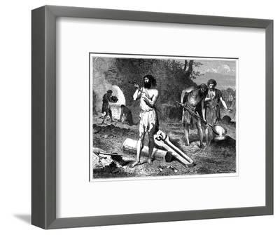 Artist's reconstruction of casting weapons in the Iron Age, 1889. Artist: Unknown-Unknown-Framed Giclee Print