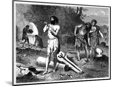 Artist's reconstruction of casting weapons in the Iron Age, 1889. Artist: Unknown-Unknown-Mounted Giclee Print