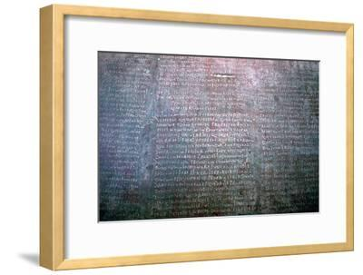 Roman Latin inscription on stone from Spain. Artist: Unknown-Unknown-Framed Giclee Print